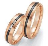 Mooye trouwringen in rosé goud en zirkonium _