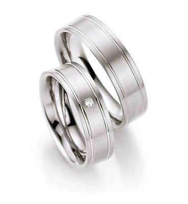 Trouwringen in titanium met diamant(en) per paar vanaf