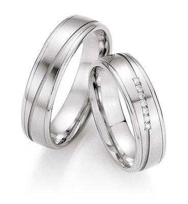 Mooye trouwringen in palladium 500 per paar