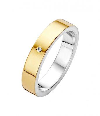 Mooye trouwringen in zilver met goud - vlak smal - inclusief diamant per paar