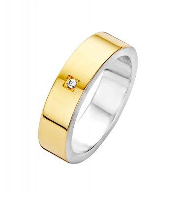 Mooye trouwringen in zilver met goud - vlak breed - inclusief diamant per paar