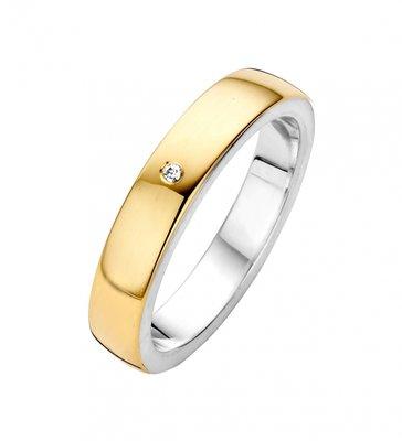 Mooye trouwringen in zilver met goud - bol smal - inclusief diamant per paar