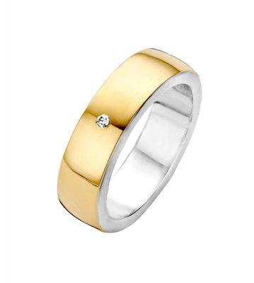 Mooye trouwringen in zilver met goud bol breed - inclusief diamant per paar