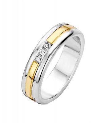 Mooye trouwringen in zilver met goud - smal - inclusief 3 diamanten per paar
