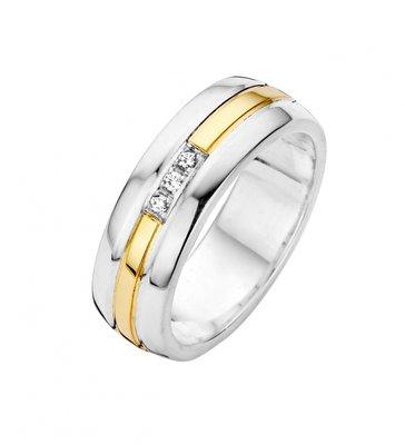 Mooye trouwringen in zilver met goud - breed - inclusief 3 diamanten per paar