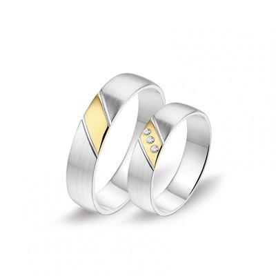 Mooye trouwringen in 8 karaat wit en geel bicolor met diamanten per paar