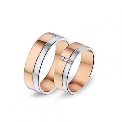 Mooye trouwringen in 8 karaat rose en wit bicolor met diamanten per paar