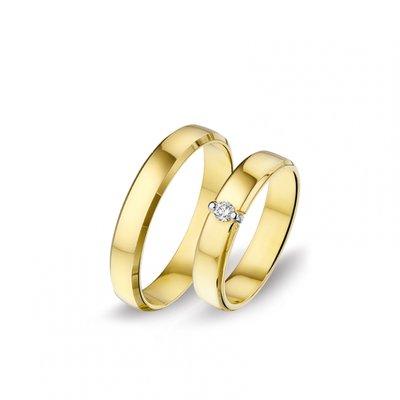 Mooye trouwringen in 14 karaat met diamanten per paar