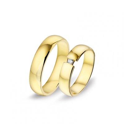 Mooye trouwringen in 14 karaat geelgoud met diamanten per paar