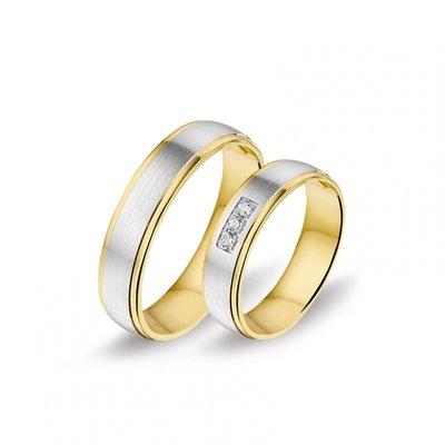 Mooye trouwringen in 14 karaat geelgoud en witgoud bicolor met diamanten per paar