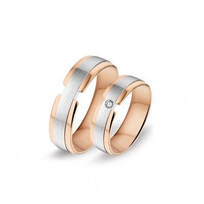 Mooye trouwringen in 14 karaat rosegoud en witgoud bicolor met diamanten per paar