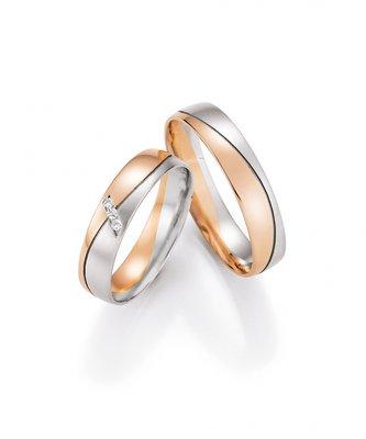 Mooye trouwringen 8 karaat 333 rose met wit per paar
