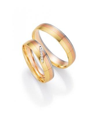 Mooye trouwringen in 8 karaat 333 rose, wit en geel per paar