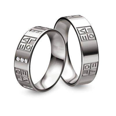 Mooye trouwringen in Palladium 500 met diamant(en)