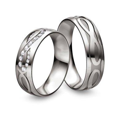 Mooye trouwringen in palladium 500 wit met diamant(en)