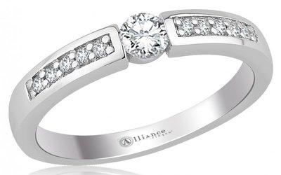 Mooye aanzoek - verlovingsring in 14 karaat 585 witgoud met diamanten 0,15 ct