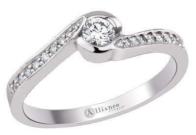 Mooye aanzoek - verlovingsring in 14 karaat 585 witgoud met diamanten 0,18 ct