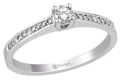 Mooye aanzoek - verlovingsring in 14 karaat 585 witgoud met diamanten 0,27 ct