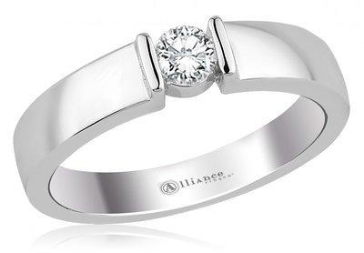 Mooye aanzoek - verlovingsring in 14 karaat 585 witgoud met diamant 0,15 ct