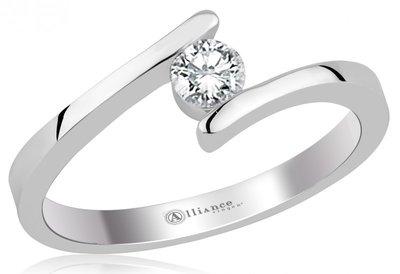 Mooye aanzoek - verlovingsring in 14 karaat 585 witgoud met diamant 0,10 ct