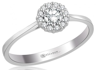 Mooye aanzoek - verlovingsring in 14 karaat 585 witgoud met diamanten 0,19 ct