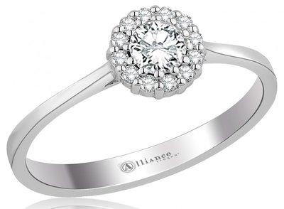 Mooye aanzoek - verlovingsring in 14 karaat 585 witgoud met diamanten 0,24 ct