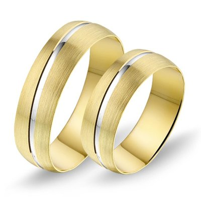 Mooye trouwringen in 8 karaat geel en wit bicolor met diamanten per paar