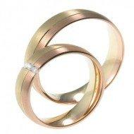 Mooye trouwringen in 14 karaat geelgoud en rosegoud bicolor met diamanten per paar
