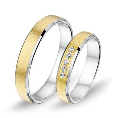 Mooye trouwringen in 14 karaat geelgoud met witgoud en diamanten per paar