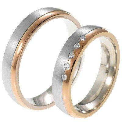 Mooye trouwringen in 14 karaat witgoud en rosegoud bicolor met diamanten per paar