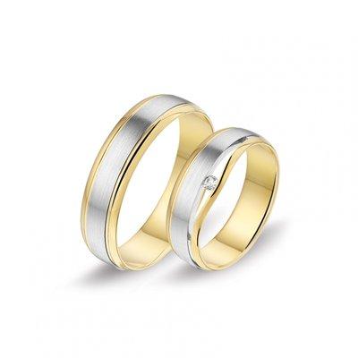 Mooye trouwringen in 14 karaat witgoud en geelgoud bicolor per paar