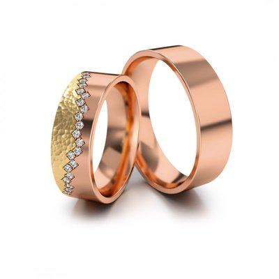 Mooye trouwringen in rosé goud en geelgoud met diamant