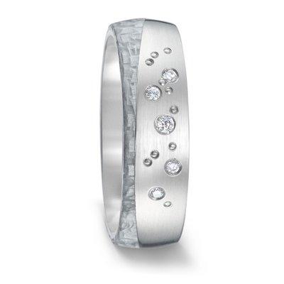 Mooye trouwringen in grijs Carbon en Titanium met diamant(en)