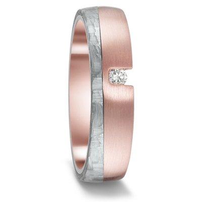 Mooye trouwringen in grijs Carbon en 14 karaat rosé goud met diamant(en)