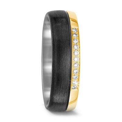 Mooye trouwringen in zwart Carbon, Titanium en 18 karaat geelgoud met diamant(en)