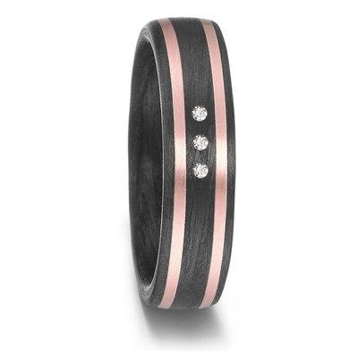 Mooye trouwringen in zwart Carbon en rosé goud met diamant(en)
