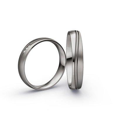 Mooye trouwringen in Palladium 500 en diamanten per paar