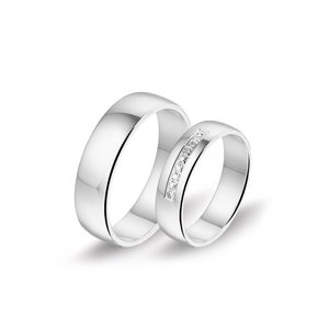 Mooye trouwringen in 8 karaat 333 met diamanten per paar