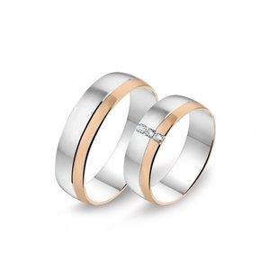 Mooye trouwringen 8 karaat 333 wit en rose bicolor met diamanten per paar