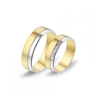 Mooye trouwringen 8 karaat 333 geel en wit bicolor met diamanten per paar