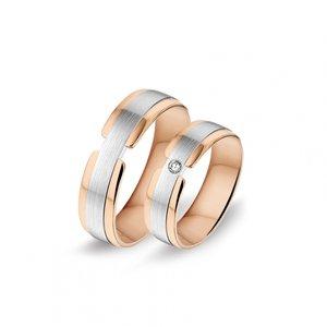 Mooye trouwringen 8 karaat 333 rose en wit bicolor met diamanten per paar