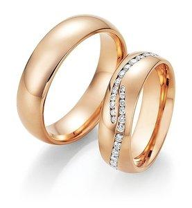 Mooye trouwringen in 14 karaat 585 rosegoud met diamanten per paar