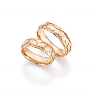 Mooye trouwringen in 14 karaat 585 roségoud per paar