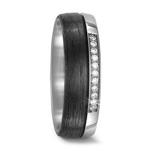 Mooye trouwringen in Carbon met Ttanium per paar