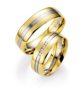 Mooye trouwringen in 14 karaat 585 geelgoud met witgoud per paar