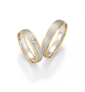 Mooye trouwringen 14 karaat 585 wit met geel per paar