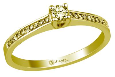 Mooye aanzoek - verlovingsring in 14 karaat 585 geelgoud met diamanten 0,38 ct