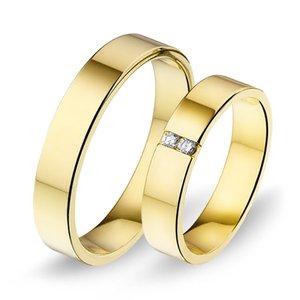 Mooye trouwringen in 14 karaat 585 geelgoud met diamanten per paar