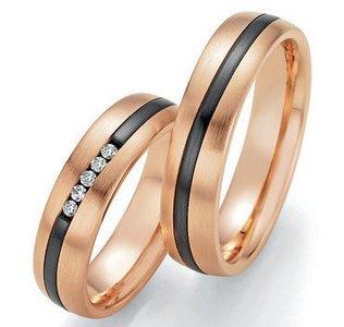 Mooye trouwringen in rosé goud en zirkonium