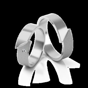 Mooye trouwringen in witgoud met diamant